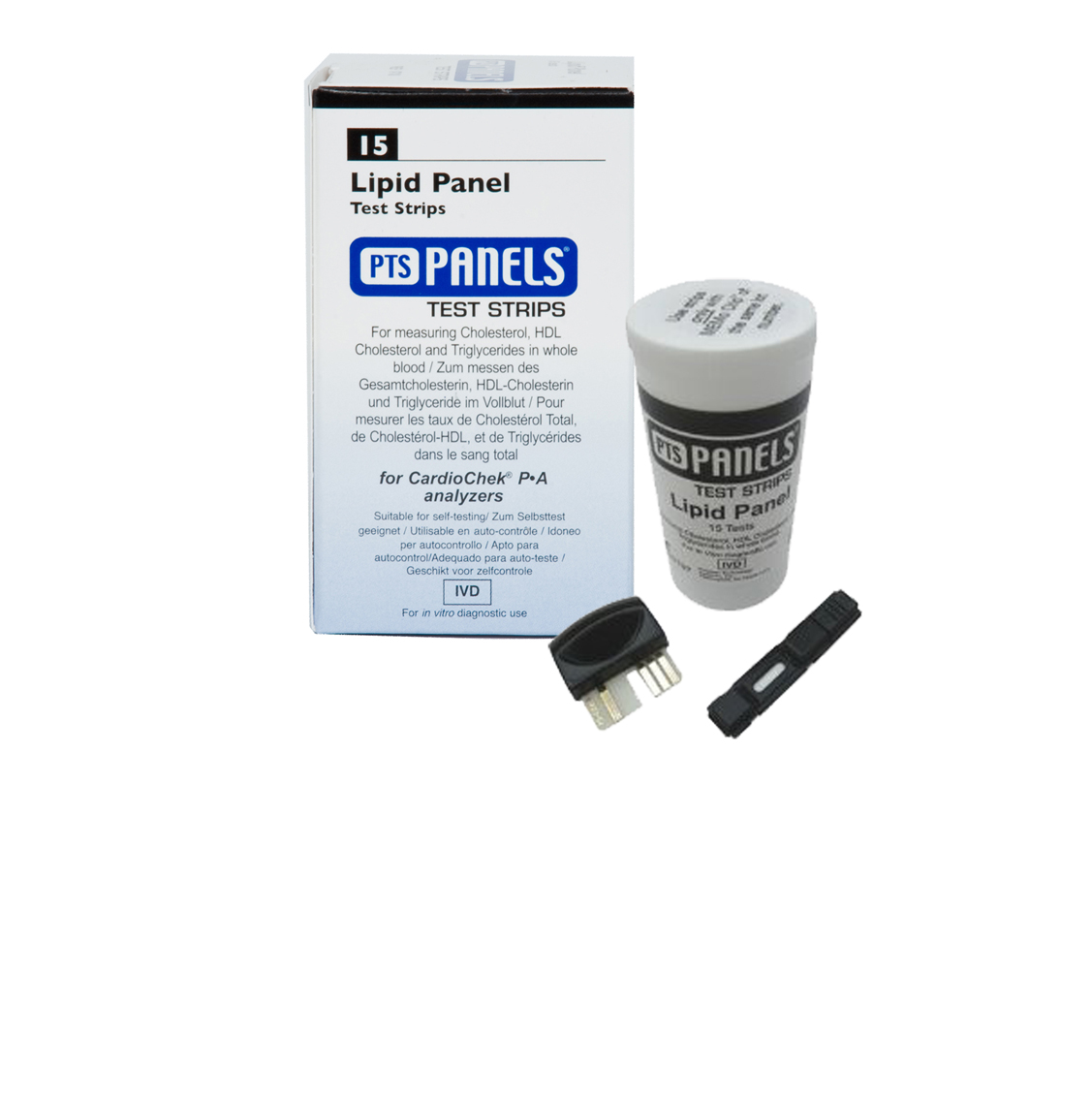 PTS1710 - Lipid Panel Test strips, (TC, HDL, LDL, Trig) - 15 strips/vial